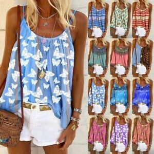 Women Summer Daisy Print Strappy Tops Cami Vest Ladies Casual Loose Shirt Blouse