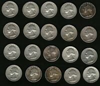 Lot of 20 Washington Silver Quarters Coins Years: 1962, 1963