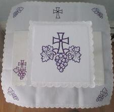 Altar Linens-Purple Cross/Grapes-Corporal&Pall&Purificator&FingerTowel-Holy Mass