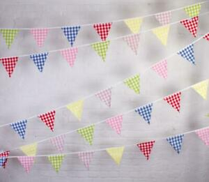 100% Cotton Bunting - Farmhouse Multi-Coloured Gingham-10m/33 Double Sided Flags