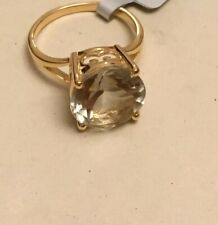 9ct Gold Plated Ring With Green Amethyst/Prasiolite. Size N/O Over 5.5crt Gem.ce