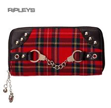 Banned clothing black wallet purse tartan menottes punk goth cadeau