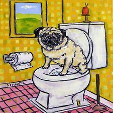 pug in the bathroom dog art tile coaster gift