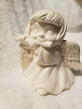 Ceramic White Glazed Angel Playing a Flute
