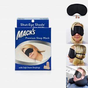 Mack's Shut-Eye Shade Premium Sleep Mask with Soft Foam Earplugs — Blindfold Aid