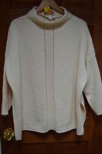 Escada Ivory 48% Wool/30% Cashmere Turtleneck 3/4 Sleeve Tunic Sweater Size 40