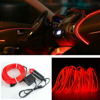 2M 12V EL Wire Red Cold light lamp Neon Lamp Atmosphere Decor Car Accessory Top