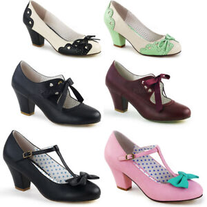 """Pin Up Couture 2"""" Cuben Heel Mary Jane Pump ribbon Tie Adult Women WIGGLE/32"""