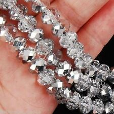 Cheap wholesale Semi-Translucent silver -colored crystal beads 6x8mm 70PC N04