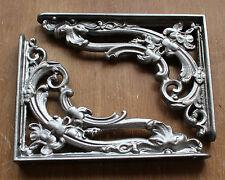 "Pair Pewter 8x6"" ANTIQUE HEAVY CAST IRON VICTORIAN SHELF WALL BRACKETS - BR07px2"