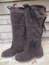 Nine West Calf Flat Boots Unusual Soft Brown Leather/ Suede Pull on Boot 6.5W D