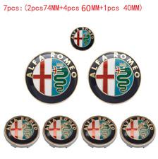 7pcs ALFA ROMEO Car Badge Stickers 74mm Hood/Rear+60mm Wheel+40mm Steering Wheel