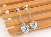 Long Dangle Heart Crystal Studs Drop Earring Lady 18k White/Rose Gold GP Earring