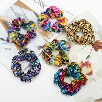 Eg _ Nero _ Donna Fiore Colore Elastico per Capelli Cravatta Fascia S