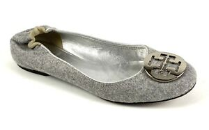 TORY BURCH Reva Gray Wool Ballet Flats Womens Size 7.5