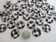 60 Craft Rhinestones 10mm Hot Fix Iron On/jewel/studs/trim/White E14-Black Plaid