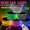 220V 10m LED Strip Light RGB Neon Flex Rope Waterproof Tape 5050 Remove Control
