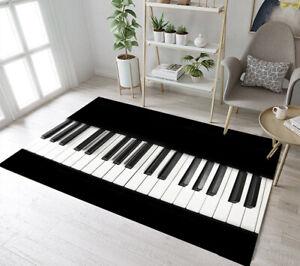 Black and White Piano Keys Floor Mat Bedroom Carpet Living Room Decor Area Rugs