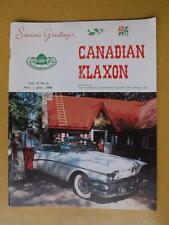 CANADIAN KLAXON  MAGAZINE NOV DEC 1986 OLD CARS 1958 BUICK LIMITED CONVERTIBLE