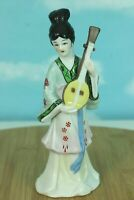 "Vintage Ceramic Geisha Figurine Pained China Playing Lute 6.5"" Tall Doll Figure"