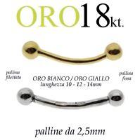 Piercing body BANANA 2.5mm CORPO CIGLIO SOPRACCIGLIO TRAGO orecchio ORO 18kt.