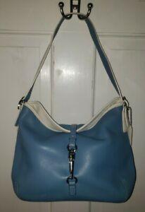COACH blue White Leather Logo Shoulder Bag Purse