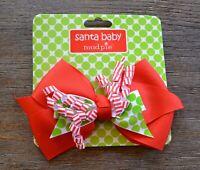 Mud Pie Santa Baby Christmas Holiday Hair Bow Clip Red