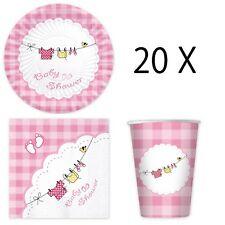 set completo coordinatoda tavolapiatti carta baby shower girl bambina femmina