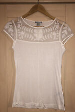 H&M Cream Floral Lace Panel T Shirt Small BNWT