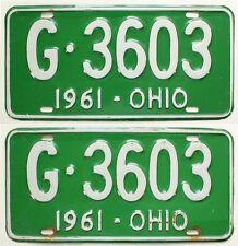 Ohio 1961 License Plate Pair, G-3603, Nice Quality, YOM, Classic Car, Rat Rod