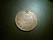 1906 Canadá Eduardo VII 1 centavos moneda. Excelente Grado Au. agujeros
