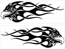 Set 2x sticker decal vinyl car bike laptop macbook bumper eagle tribal flame