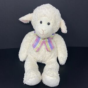 "Melissa & Doug Lamb Plush Cream Off White Ivory Plaid Bow Stuffed Animal 16"""