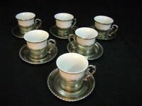 Servizio da caffe' anni 60 ceramica e peltro vintage