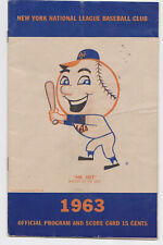 1963 Dodgers at Mets scorecard program Polo Grounds unscored