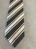 Men's Tie Necktie Daniel Ellissa Black White Silver Gray Diagonal Stripe New