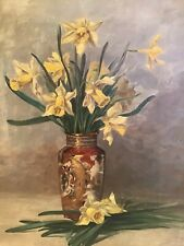 ANTIQUE DAFFODILS FLORAL BEAUTIFUL VASE OIL PAINTING