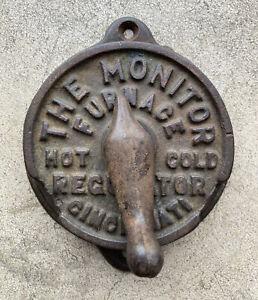 Vintage Antique Cast Iron Manual Heat Thermostat Monitor Furnace Regulator Ohio