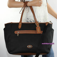 NWT Coach Sawyer Multifunction Diaper Baby Tote Bag F37758 Black Canvas NEW