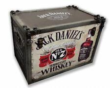 JACK DANIELS STRAPPED TRANK 55cm Wood & Metal Storage Box c/w Handles - FREE P+P