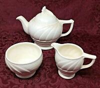 Vintage Melba Ware Art Deco Whiteware Mid Century Modern Teapot Set - Queen Anne