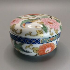 Vintage Japanese Ceramic Trinket Box Lidded Dish Flowers Birds