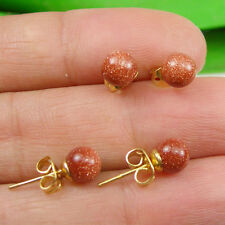 Gold Sandstone Gemstone 6mm Round Ball Stud Earrings - Gold Plated
