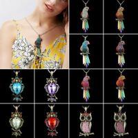 Fashion Beautiful Rhinestone Crystal Enamel Parrot Necklace Pendant Women Gifts