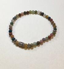 Handmade Stretch Gemstone Stacking Bracelet Blood Agate Beads Tibet Silver Sm-M