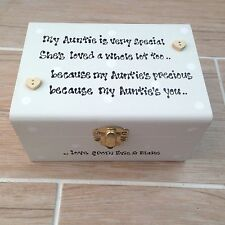 Shabby Auntie Box Aunty Aunt Chic gift Personalised Jewellery trinket any name..