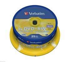 25 x Verbatim Rewritable DVD+RW Spindle - 25 Pack of DVDs - 43489 - CLEARANCE