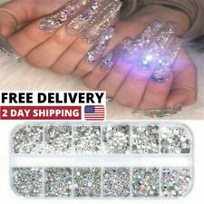 12Box/Set AB Crystal Rhinestone Diamond Gems 3D Glitter Nail Art Decoration US