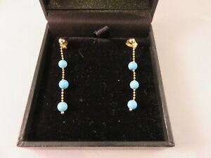 SOLID 18KT GOLD AND NATURAL TURQUOISE DROP EARRINGS