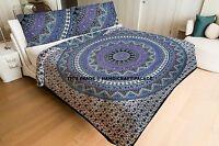 Indian Elephant Mandala Doona Cotton Filled Quilted Quilt Reversible Blanket Art